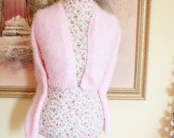 Super Fluffy PINK Angora look knit v-neck No button LONG sleeves crop bridal bolero, Will fit XS to S Size/ Ready to be shipped today
