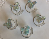 MOUSE EARS Hair Swirls for Wedding in Dazzling Clear AB Acrylic