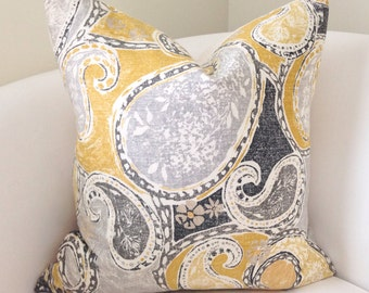 Grey Yellow Pillow Cover Decorative Throw Pillow Cushion Accent Pillow Gray Toss Pillow