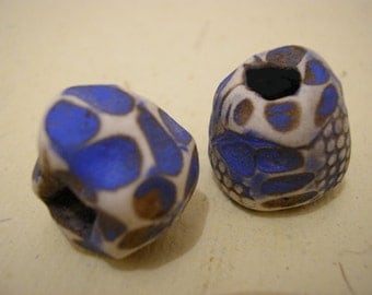 1  Primitive Tribal Native hair or dreadlock beads, medium size, carved, brown,blue, white... polymer