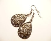 Antique Bronze Filigree Teardrop charms - The Elissa Earrings