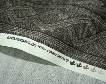2461E -- Knit Cable Look , Diamond and Rib Print Fabric in Black , Wash Effect Look , Japanese Cotton, Cosmo Textile