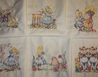 Alice in Wonderland Machine Embroidered Quilt Blocks Set A