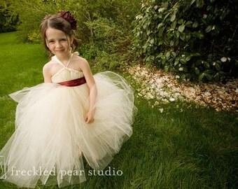 Ivory FLower Girl Tutu Dress - YOU Pick Sash Color