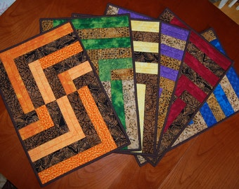 Primary Secondary Broken Lines Quilted Placemats Set of 6