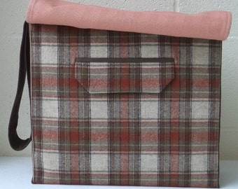 Brown Wool Plaid Large Messenger Bag