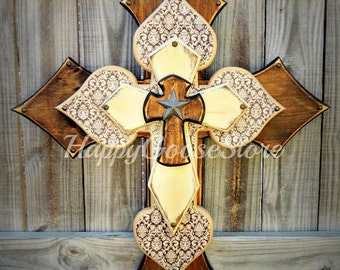 Wall CROSS - Wood Cross - X-Large - Stain, Brown Damask, and Antiqued Beige