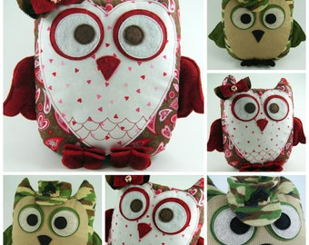 Huge Sale ... 2 Owl Pillow Sewing Patterns ... Sweetheart Owl and Sgt Owl ... Get both versions