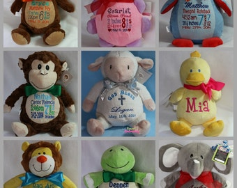 Personalized Baby Boy Baptism Gift Embroidered Soft Plush Baptismal Stuffed Animal Custom Made by Renee's Embroidery