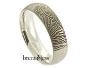 Custom Fingerprint Wedding Band - Low Dome, Comfort Fit, Single Fingertip Print on the Outside