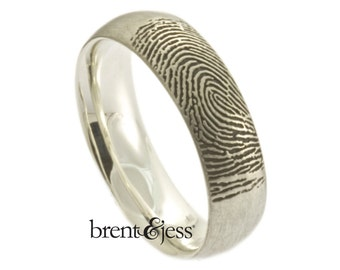 Custom Handcrafted Fingerprint Wedding Band - Low Dome, Comfort Fit, Single Fingertip Print on the Outside