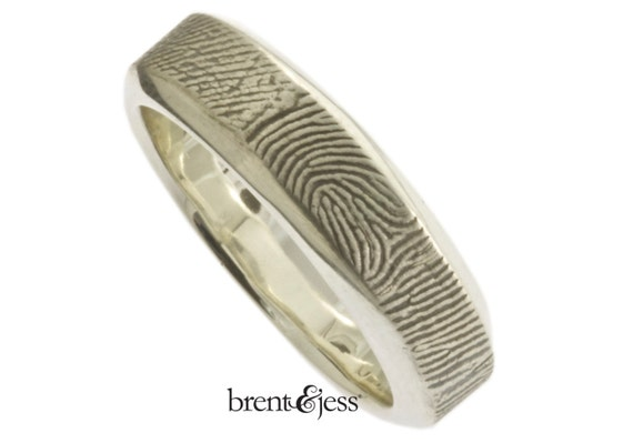 Wide Beveled Edge Fingerprint Wedding Band with Wrapped Print on the Outside - Sterling Silver