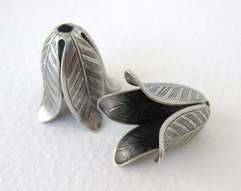 Antiqued Silver Plated Ox Flower Leaf Bead Cap Vintage Style 20mm bcp0028 (2)