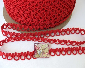 Vintage Trim Red Gimp Braid Cord Sewing 1/2 inch rib0089 (2 yards)