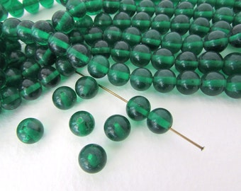 Vintage Japanese Beads Emerald Green Glass Rounds 8mm vgb0801 (10)