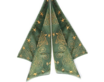 Christmas scarf with golden stars. Hand painted green silk scarf. Small square scarf. Christmas motif