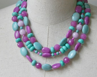 Purple Lavender Turquoise Multi Strand Layered Necklace, Chunky Beaded Statement