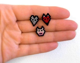 Earrings - Red Fox, Grey Mouse or Pink Piggy - Beadwork on .925 Sterling Silver Posts