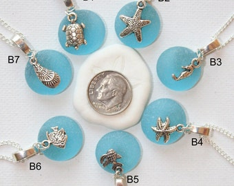 Wholesale Stocking Idea wedding gift 5,10,20,50,100 Ocean Blue Sea glass with Tibetan silver charms on silver plated Necklaces