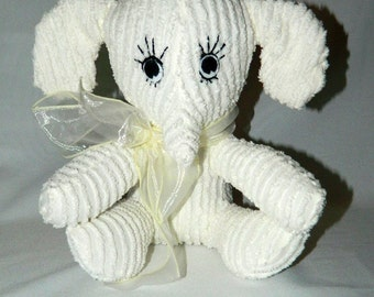 Stuffed Animal - White Chenille Elephant - Baby's First Stuffed Animal