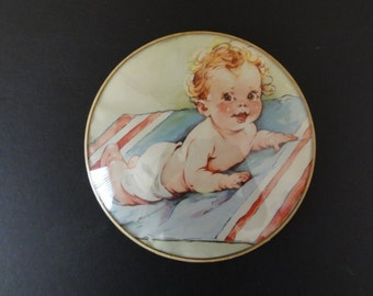 Vintage Antique Convex Domed Glass Baby on Blanket Picture Wall Plaque-Nursery