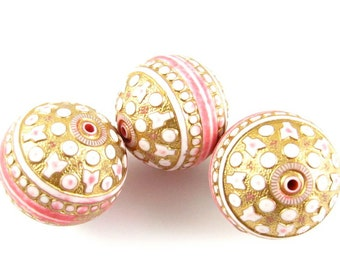 2 - HUGE Vintage Italian Round Gold Etched Lucite Beads - White, Gold & Pink - 25mm