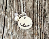 Love Necklace, Valentine Necklace, Adoption Gift, Sympathy Gift, Handstamped Sterling Silver Necklace, Adoption Gifts, Miscarriage Gifts