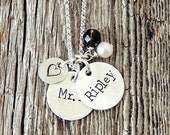 Two Name Custom Necklace, Personalized Mommy Necklace, Hand Stamped Silver Necklace, Adoption Gifts, Placement Gifts, Push Present