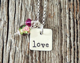 LOVE Mini Square Necklace with Rosette Glass and Pink Swarovski, Stamped Charm Necklace, Hand Stamped Jewelry, Hand Stamped Silver Jewelry