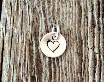 Round Sterling Silver Charm (3/8 inch), Stamped Charms, Handstamped Sterling Silver Charm, Heart Charm, Personalized Charm