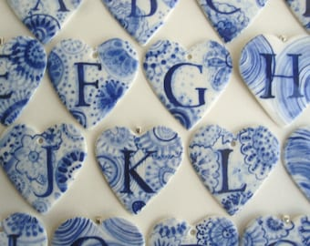 F - Personalized - Monogram - Hand painted porcelain  Heart -  Blue and white Dutch Delftware Personalized -mother's day - wall hanging