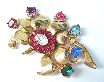 Signed EISENBERG ORIGINAL Fine Jewelry Huge Designer Brooch Fine Accessories Gifts Colorful Glass Stones Antique Jewelry