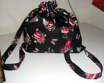 Ed Hardy Skulls and Hearts Drawstring Backpack