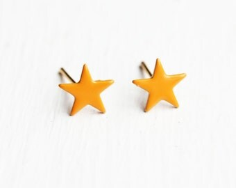 Sample Sale - Orange Enamel Star Studs