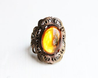 Sample Sale - Yellow Petal Filigree Ring