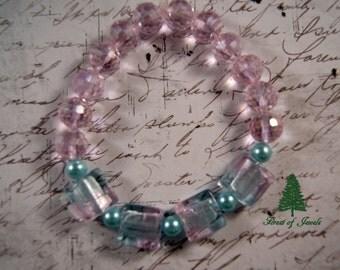 Pink and Blue Glass Stretch Bracelet