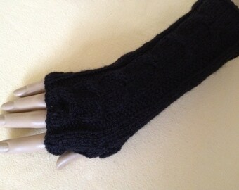 Luxury Hand Knitted Soft Merino Wool Fingerless Gloves/Mittens Arm Wrist Warmers, Black