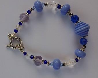 Blue and Siver bracelet OOAK