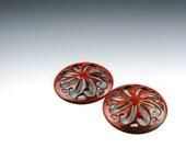 Enameled Pinwheel Focal or Cab /  Orient Red Enamel / Made to order