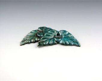 Enameled Ivy Leaf / Teal enamel  / Made to order
