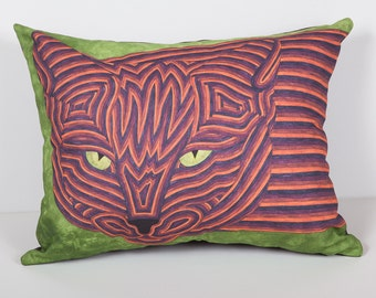 Pet Portrait Pillow- Cat Pillow- Indie as Eel Cat Pillow- Cat art pillow- Throw pillow cat- by beckyzimm design