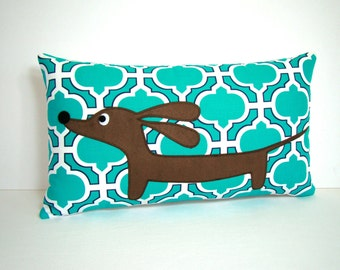 Dachshund Dog Pillow - Doxie in the Modern Moroccan Garden Vibrant Turquoise - Home Decor