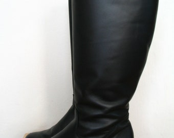 Martino Black Leather Winter Knee Boots US Size 7 B
