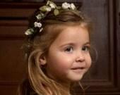 Ivory Flower Girl Halo Barn Wedding party accessories spring little girl Hair Wreath bridal headpiece woodland crown silk floral headwreath