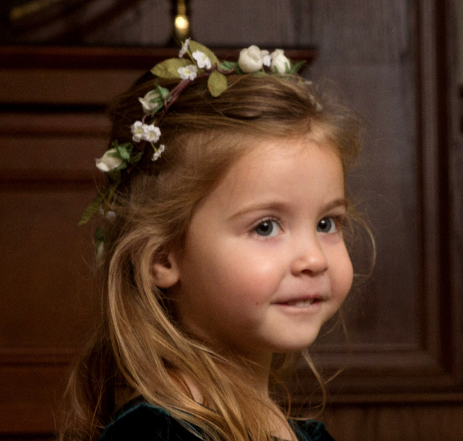 Flower Girl Headpieces: Ivory Flower Girl Halo Barn Wedding Party Accessories Spring