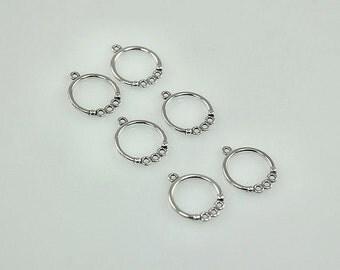 15mm Hoop Earring Findings - Sterling Silver - 3 Pair