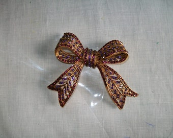 Antique Gold Bow Brooch Pin with Purple Rhinestone Sparkles