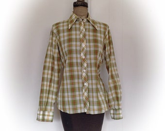 Vintage 1970s Plaid Blouse Miss K  Long Sleeve Green Gold and Brown