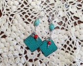 Free USA Shipping and reduced International Turquoise Patena Triangular Earrings Sterling Silver Wire Wrapped Red Coral.
