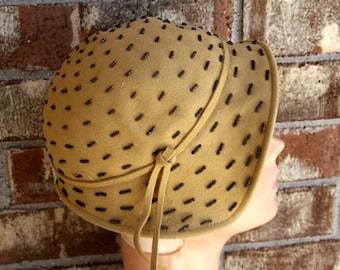 Vintage 40s 1940s Swing Marian Marcia Cloche Wool Hat Beaded